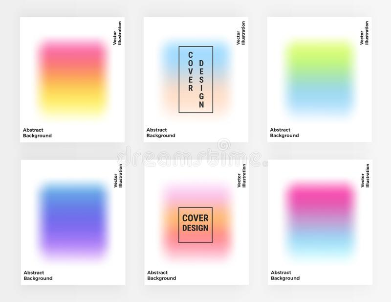 Trendy cover blur, colorful trendy simple gradient shapes. Template background for the poster, card, banner, fashion, brochure, fl royalty free illustration
