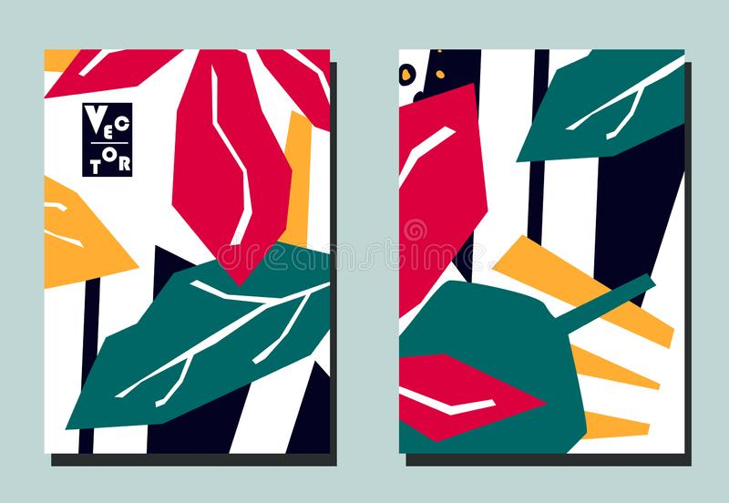 Trendy cover with tropical leaves and geometric shapes. Abstract collage style. Two floral vector templates of flyers. A4 format. Art can be used for placard vector illustration
