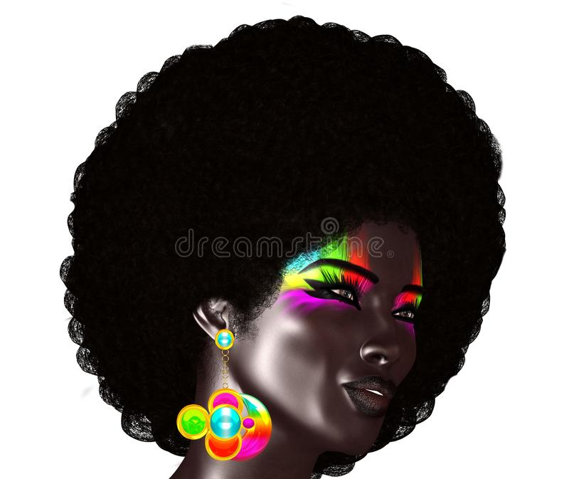 Trendy, curly African hair is worn by this realistic 3d model. She poses in front of an isolated white background royalty free illustration