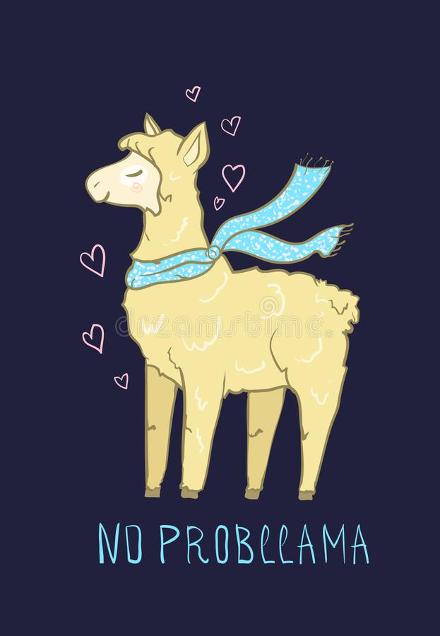 Trendy Cute funny Llama - no probllama. Lovable lama vector drawing. Sticker, greeting cards, romantic invitations. Lovable lama vector drawing. Sticker stock illustration