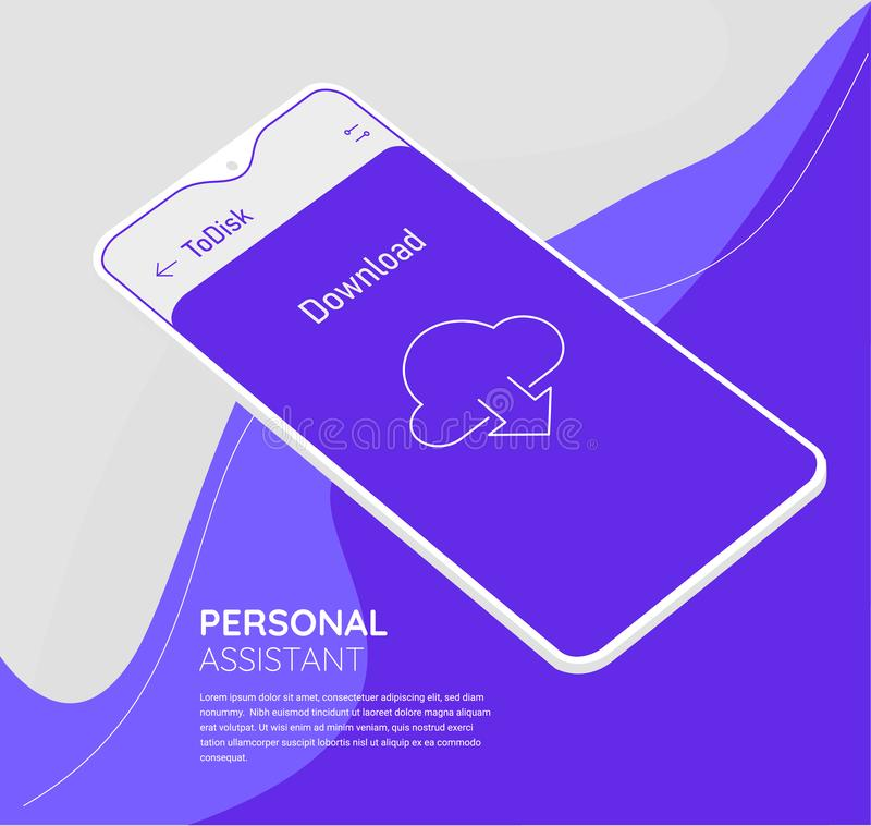 Augmented reality personal cloud storage mobile app concept vector illustration