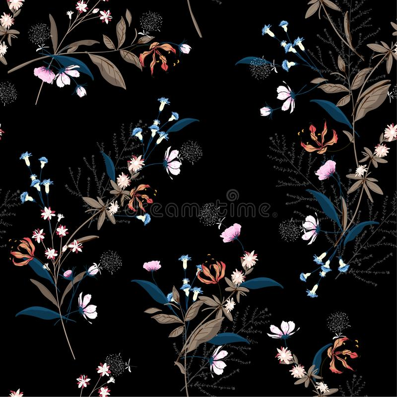 Trendy dark Floral pattern in the many kind of flowers. Botanic vector illustration