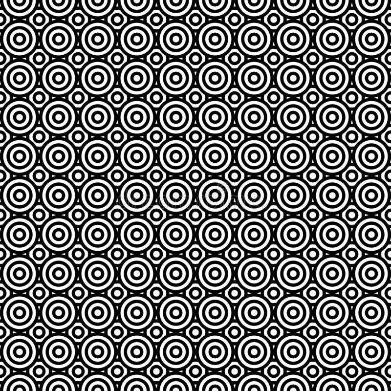 Black and white circles. Op art. Trendy design element. Seamless pattern for prints, web pages and textile design. Abstract background royalty free illustration
