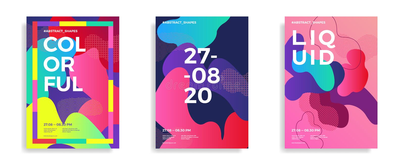 Trendy design templates with fluid gradient shapes royalty free illustration