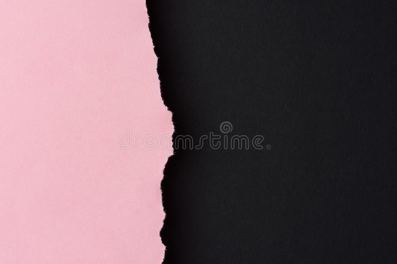 Trendy duotone black pink paper background with textured torn edge. Side border. Poster banner invitation card flyer template. Placeholder mockup for products royalty free stock images