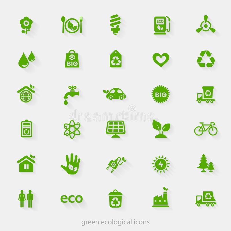 Trendy ecological and natural green icons collection. Vector material design green ecological icons collection royalty free illustration