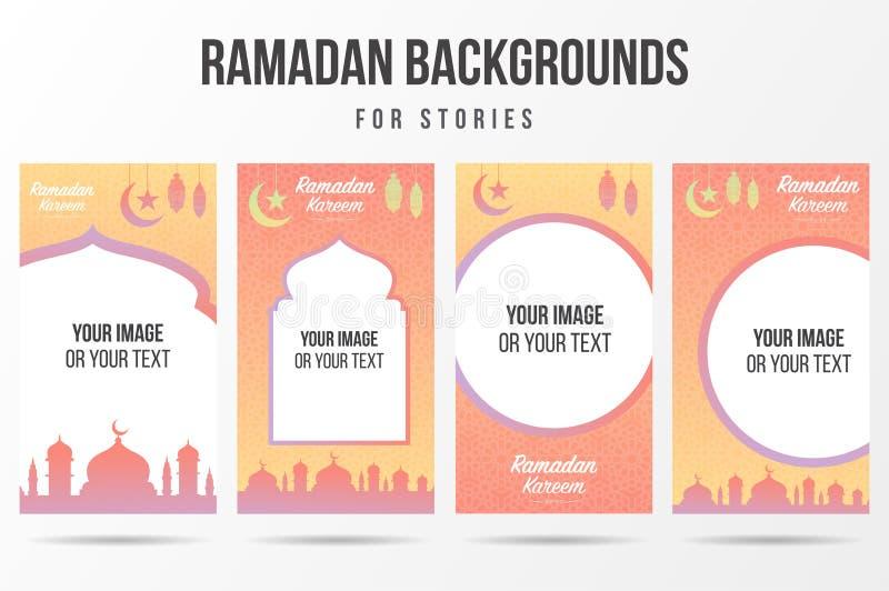 Trendy editable ramadan kareem ou eid mubarak modelo para histórias nas redes sociais Cobertura de fundo das mídias sociais ilustração do vetor
