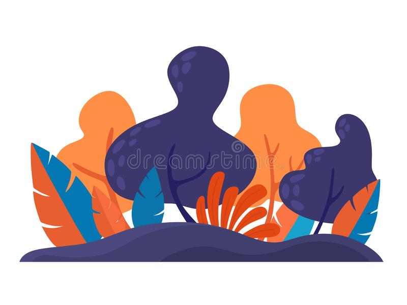 Trendy element in a flat style for web, banners, cards and design. Magic forest, abstraction. Vector isolate on a white background vector illustration