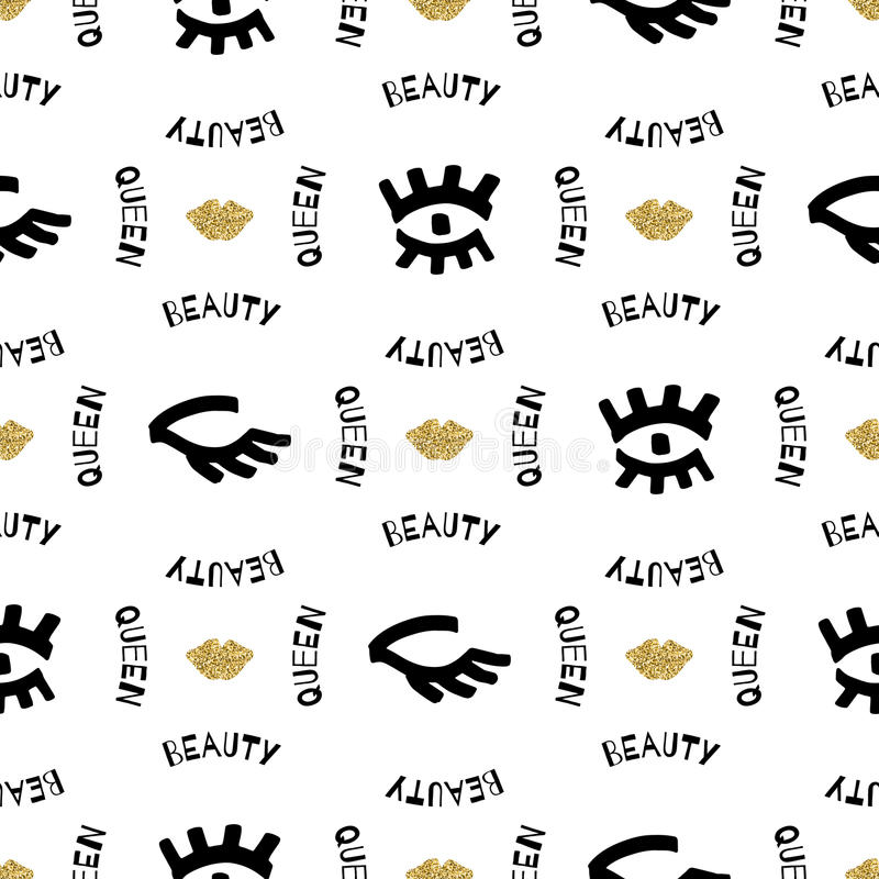 Trendy fashion creative seamless pattern, Sketch marker hand-drawn, gold elements. Artistic seamless pattern, Trendy fashion slogan Beauty Queen, Sketch of human stock illustration