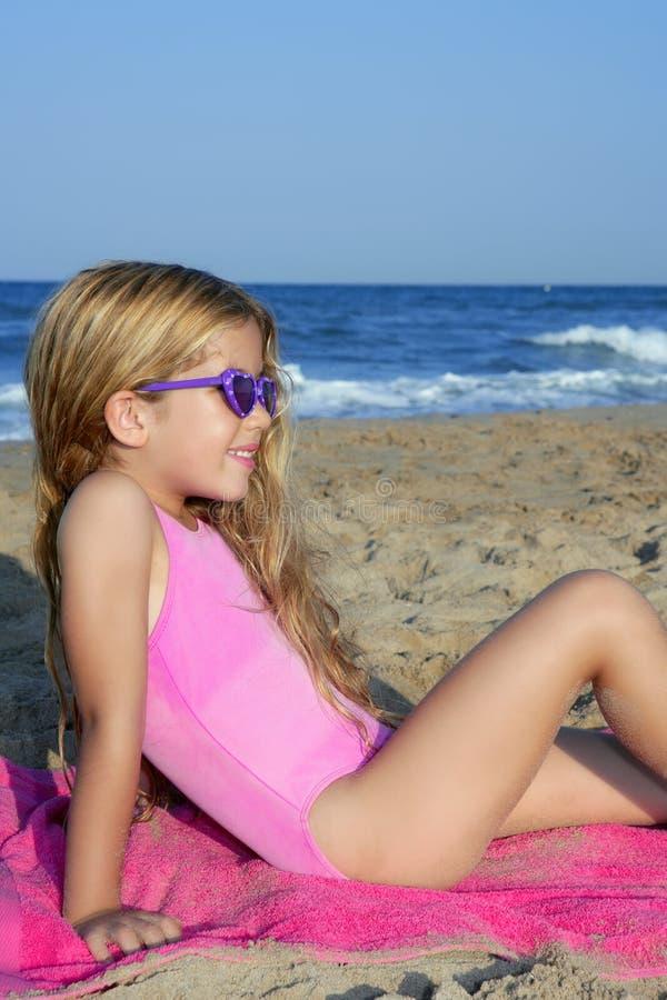 Trendy Fashion Little Summer Girl On Beach Stock Photo
