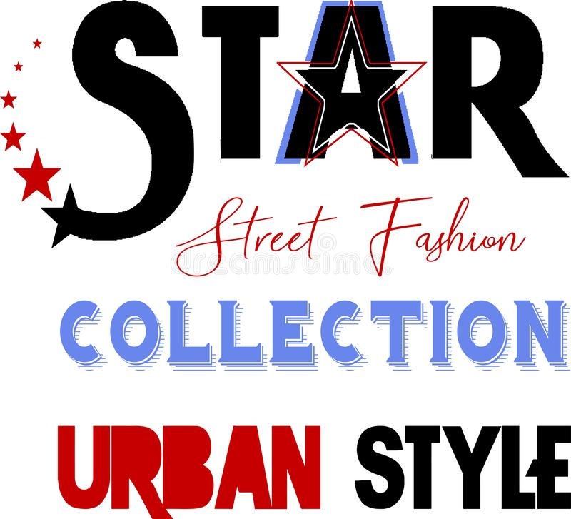 Trendy fashion star street fashion design pattern royalty free illustration