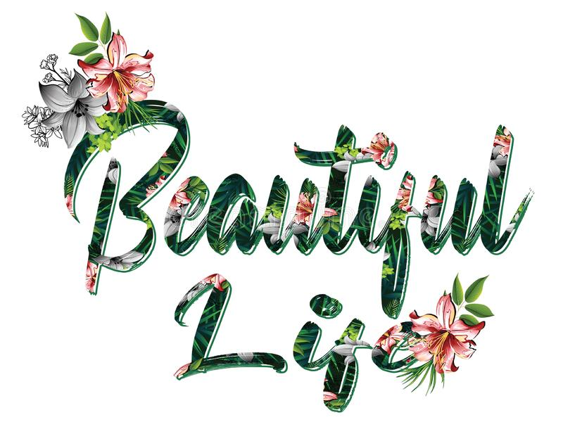 Trendy fashion T-shirt print for textile beautiful life text pattern royalty free illustration