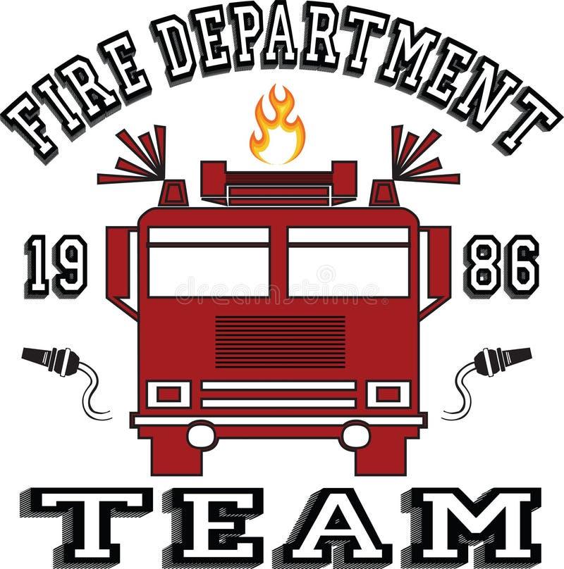 Trendy fashion T-shirt print for textile fire department team design pattern. Background vector illustration