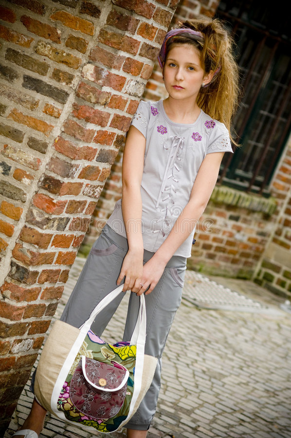 Trendy fashion teenager girl stock photos