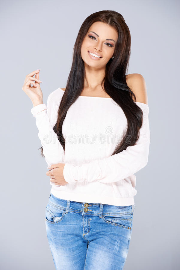 Trendy fashionable young woman stock photos