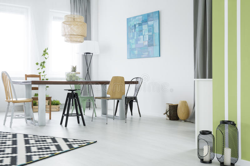 Trendy flat with dining room royalty free stock photos