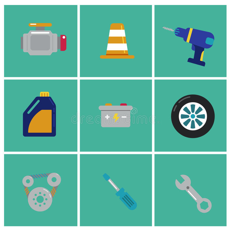 Trendy flat Mechanic icons. Set of machinist icons. Motorman elements for info graphic. Vector illustration vector illustration