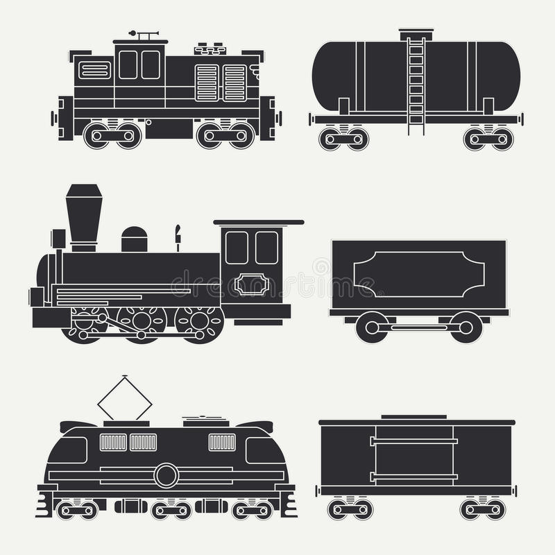Trendy flat modern and vintage trains with cargo wagons and tank icons set. Steam, diesel and electric locomotives royalty free illustration