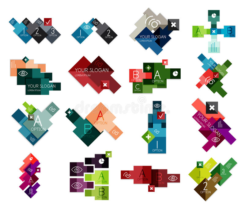 Trendy flat paper infographic templates. Set of trendy flat paper infographic templates for business or technology presentations, banners, web designs, print royalty free illustration