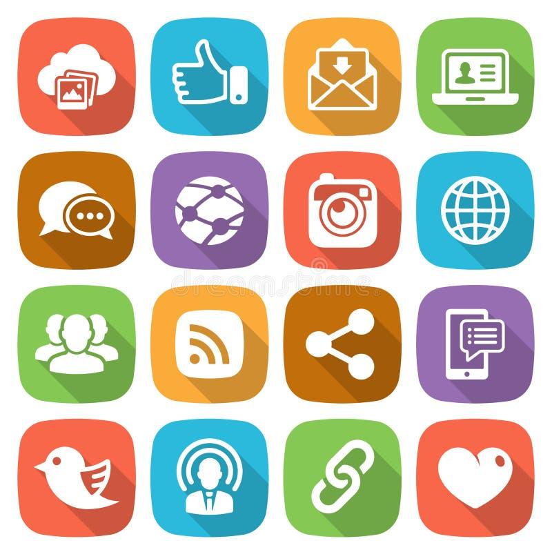 Trendy flat social network icon set Vector royalty free illustration