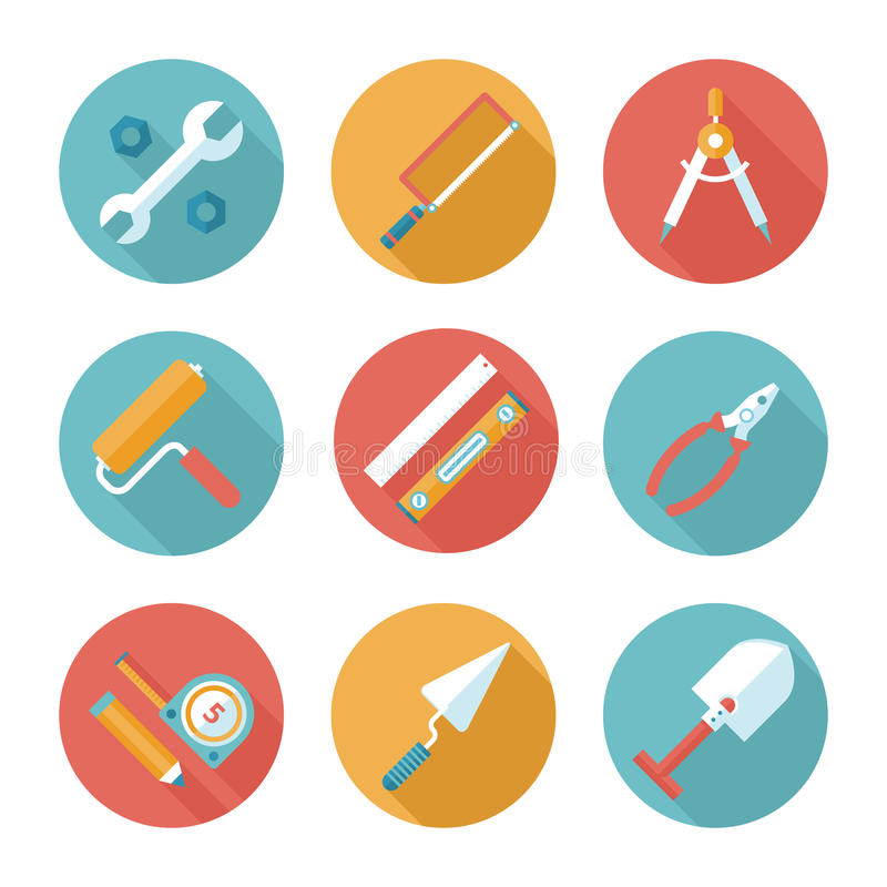 Trendy flat working tools icons. Vector illustration vector illustration