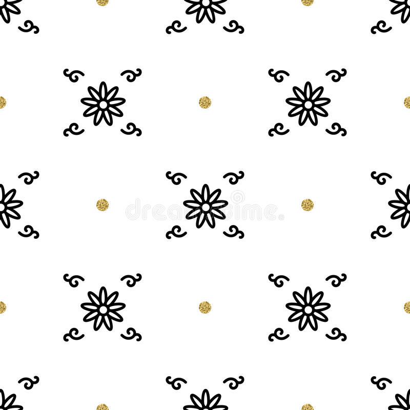 Trendy floral pattern, Asian motifs seamless wallpaper, interpretation ethnic ornament. Trendy floral pattern, interpretation of the ethnic ornament. Gold and royalty free illustration