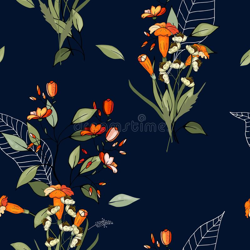 Trendy floral pattern. Isolated seamless pattern. Vintage background. Wallpaper. Hand drawn. Vector illustration. Isolated seamless pattern. Vintage background vector illustration