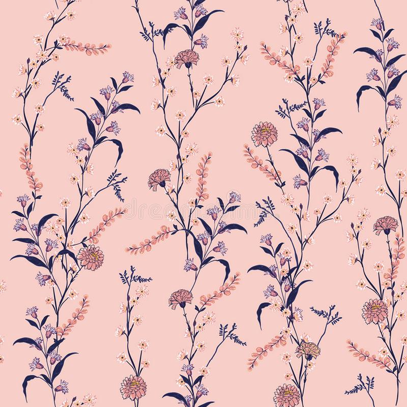 Trendy Floral pattern in the many kind of flowers. Botanical M vector illustration