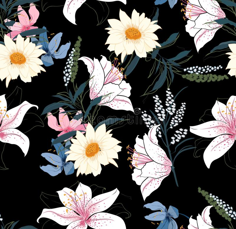 Trendy Floral pattern in the many kind of flowers. Tropical botanical Motifs scattered random. Seamless vector texture royalty free illustration