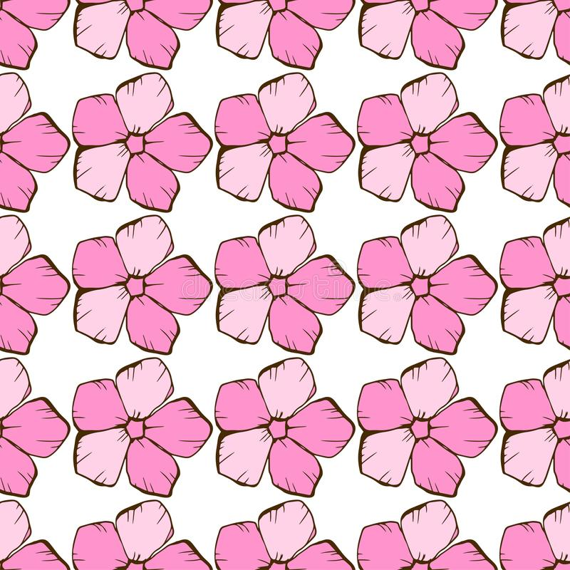 Trendy floral pattern with pink flowers. Seamless texture. Elegant template for fashion prints. stock illustration