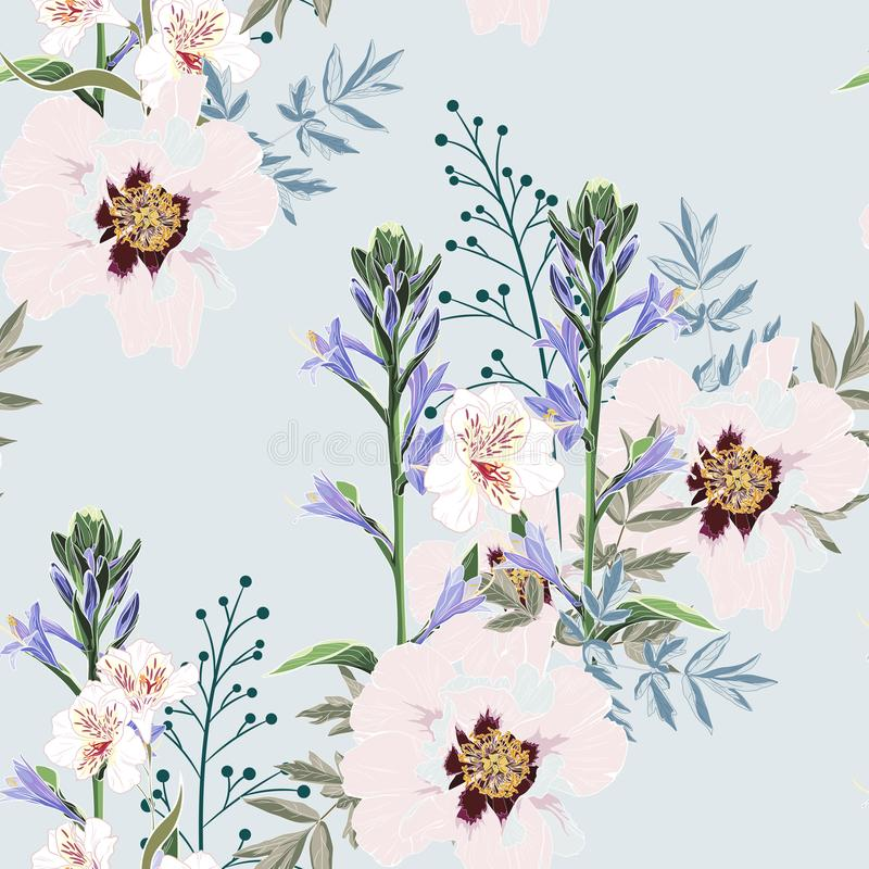 Free Trendy Floral Pattern With The Many Kind Of Flowers. Tropical Botanical Motives. Seamless Vector Texture. Royalty Free Stock Photos - 126267328