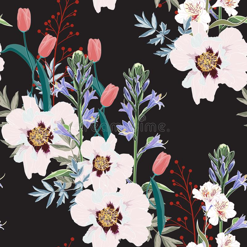 Free Trendy Floral Pattern With The Many Kind Of Flowers. Tropical Botanical Motives. Seamless Vector Texture. Royalty Free Stock Images - 126267329