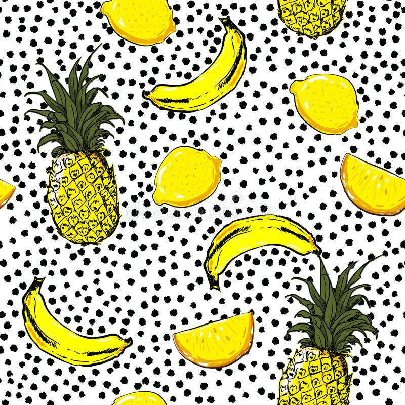 Trendy and fresh hand sketch summer fruits lemon,pineapple,banana,seamless pattern vector layer on painting black polka dots for royalty free illustration