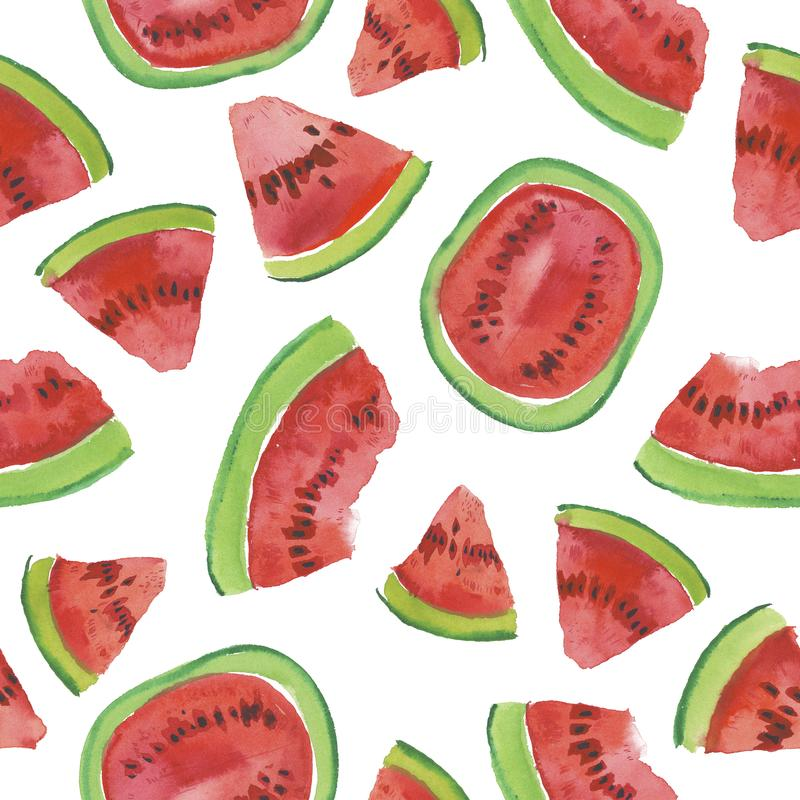 Trendy fruit pattern. Artistic Watermelon background. Watercolor watermelon seamless pattern. Hand painted texture with summer fruit on white background stock illustration