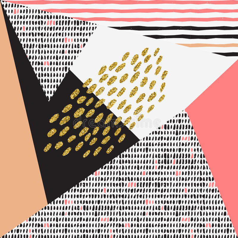 Trendy geometric elements memphis cards. stock photos