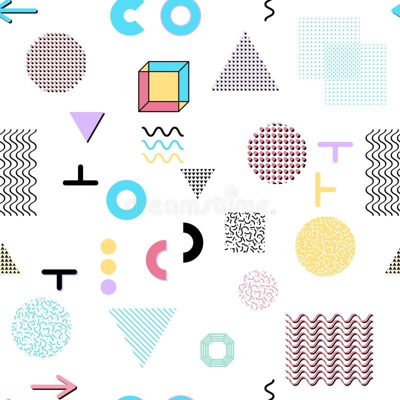 Trendy Poster Designs: Trendy Geometric Elements Memphis Cards, Seamless Pattern