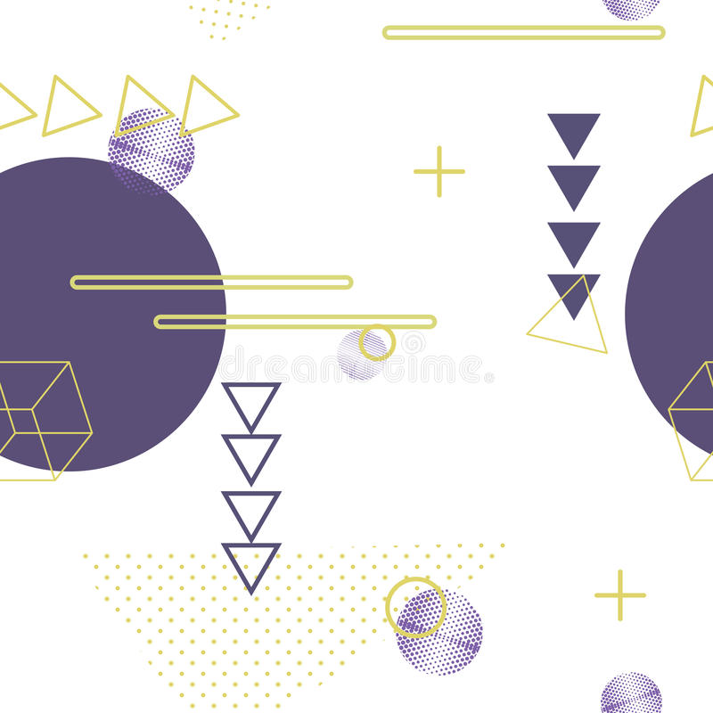 Trendy geometric elements memphis seamless background. Retro style texture, pattern and geometric elements. Modern abstract design stock illustration