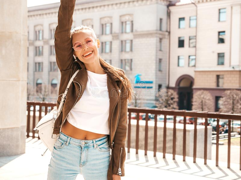 Trendy girl in casual summer clothes royalty free stock image
