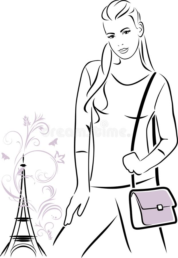 Trendy girl with a handbag. Outline drawing royalty free stock image