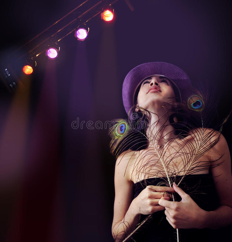 Download Trendy Girl Under Disco Lights Background Stock Photo - Image: 14180062
