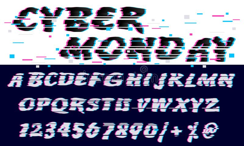 Trendy Glitch distorted font letters and numbers. Vector set with broken pixel effect,old distorted TV matrix effect. Video game royalty free illustration