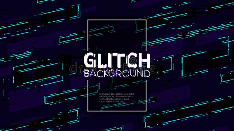 Trendy glitched geometric line style illustration. Abstract digital glitch pattern with distortion effect. royalty free illustration