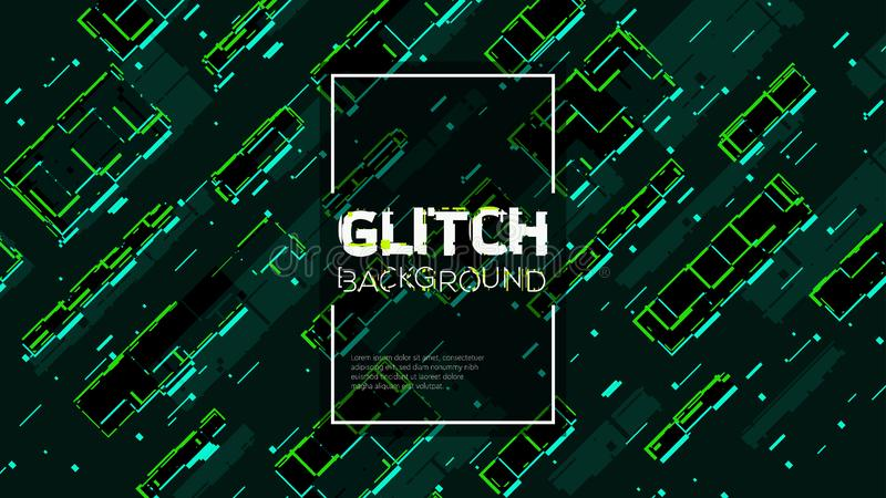 Trendy glitched geometric line style illustration. Abstract digital glitch pattern with distortion effect. royalty free stock images