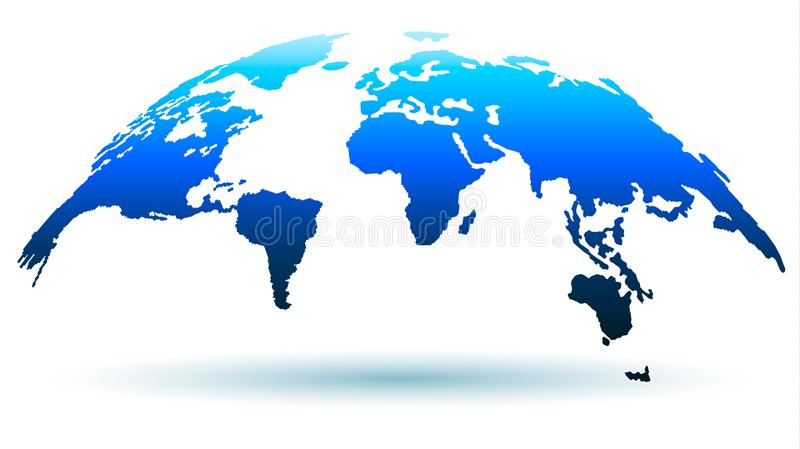 Trendy Globe Map in Bright Blue Color with Shadow. Vector Illustration vector illustration