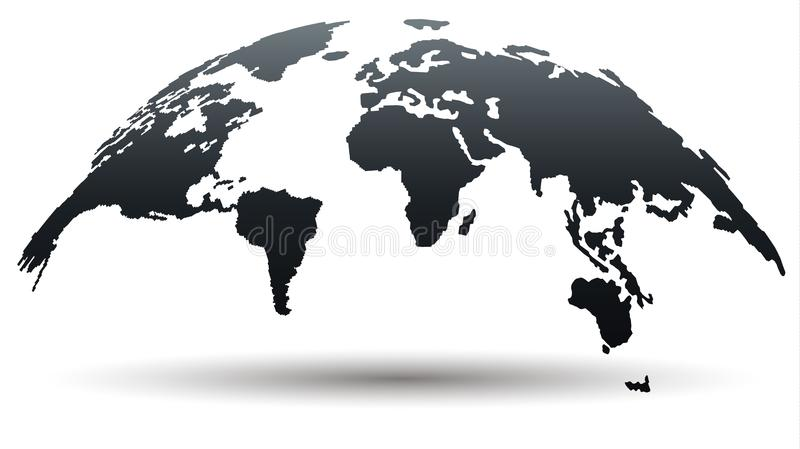 Trendy Globe Map in Deep Smoky Grey Color. Vector Illustration. Trendy Map of the World in Deep Smoky Grey Color Isolated on White Background. Global Connections royalty free illustration