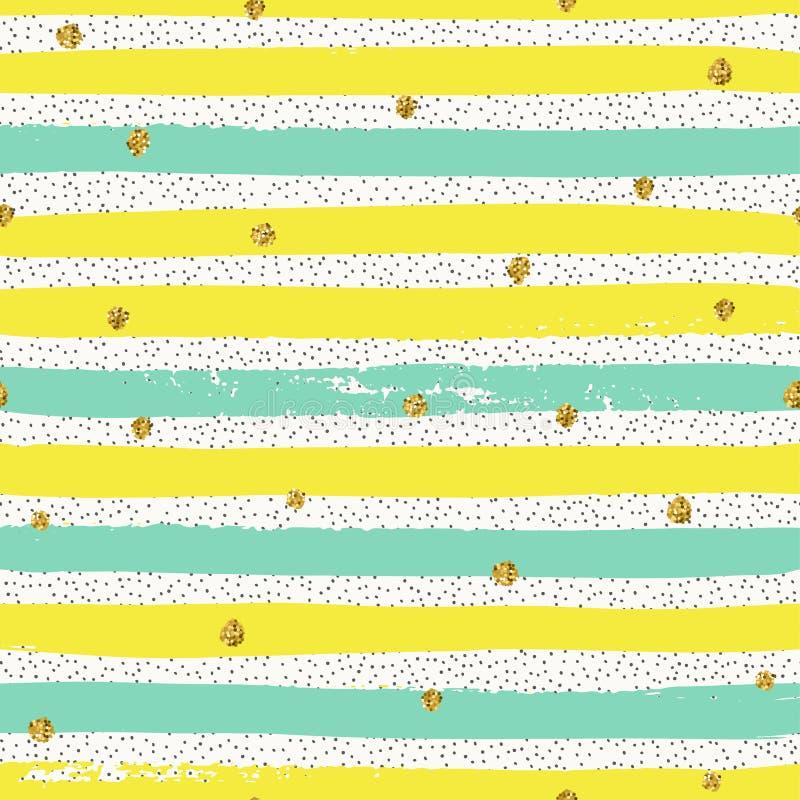 Trendy gold glittering confetti seamless pattern royalty free stock photography