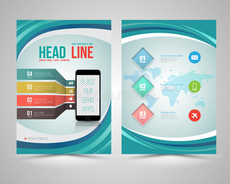 Trendy Graphic Design Layout with smart phone. Concept vector template for flyer brochure leaflet poster. Vector illustration stock illustration