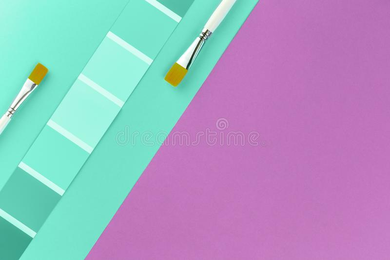 Trendy green color swatches with grape pink background stock image