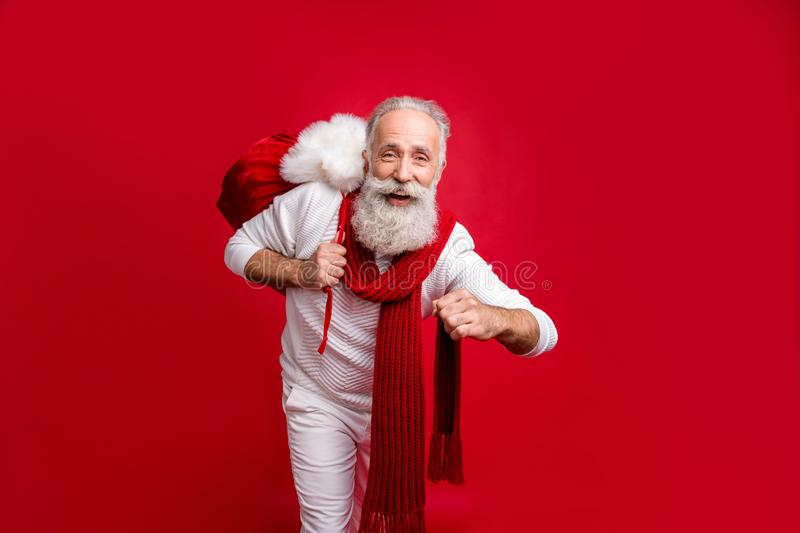 Hipster Style. Santa Claus With The Bag Of The Presents