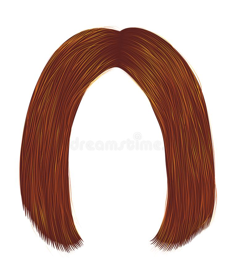 Trendy hairs ginger rad color  colors . kare parting . beauty fashion stock photos